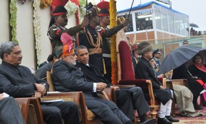 President, Pranab Mukherjee, Prime Minister, Narendra Modi and the Chief Guest US President Barack Obama and defence minister Manohar Parrikar witnessing the 66th Republic Day Parade 2015, in New Delhi