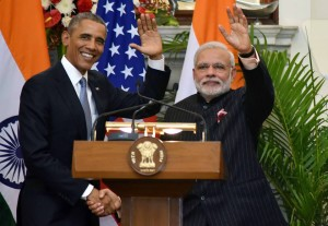 Prime Minister Modi and US President Barack Obama at the Joint Press Interaction in New Delhi