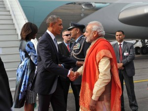 Prime Minister receives President Obama on his arrival in New Delhi