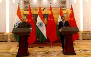 PM Narendra Modi and Premier Li at Great Hall of People china